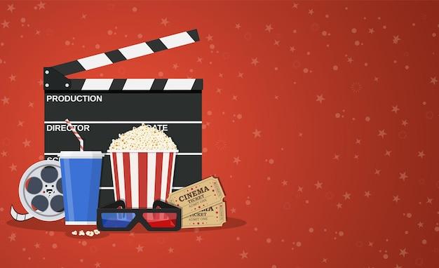 Plantilla de cartel de película. palomitas de maíz, refrescos para llevar, gafas de cine 3d, rollo de película y entradas.