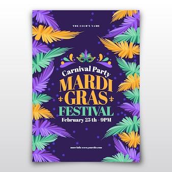 Plantilla de cartel plano de carnaval de mardi gras