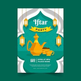 Plantilla de cartel plano iftar