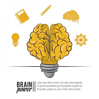 Plantilla de cartel de poder del cerebro con información