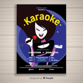 Plantilla de cartel, poster o flyer para fiesta de karaoke