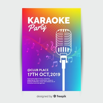 Plantilla de cartel, poster o flyer para fiesta noche de karaoke