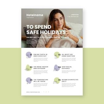 Plantilla de cartel de prevención de coronavirus plano para hoteles