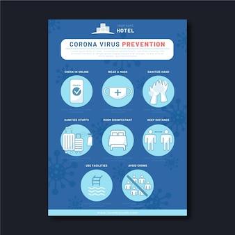 Plantilla de cartel de prevención de coronavirus plano orgánico para hoteles