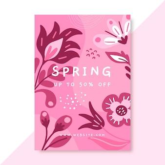 Plantilla de cartel de primavera monocromática