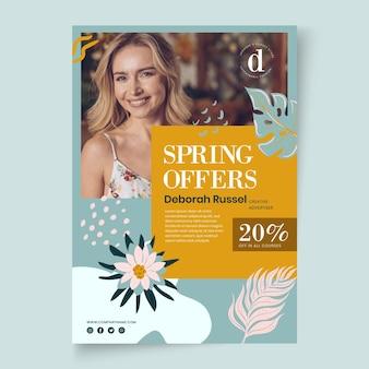 Plantilla de cartel de primavera plana con descuento
