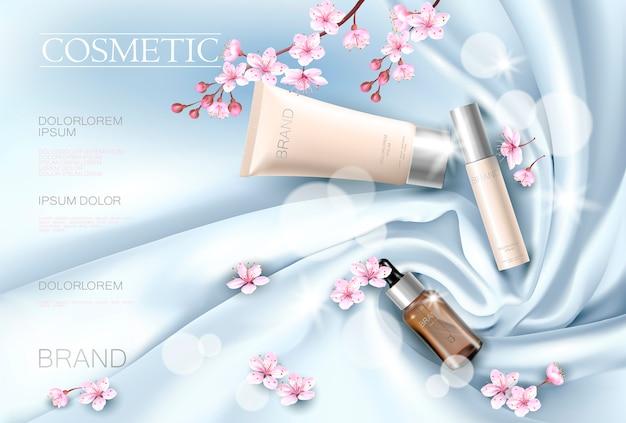 Plantilla de cartel promocional cosmético de flor de sakura. flor de pétalo de rosa