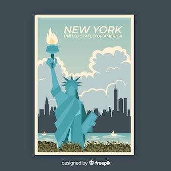Plantilla de cartel promocional retro de nueva york