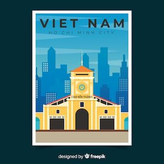 Plantilla de cartel promocional retro de vietnam