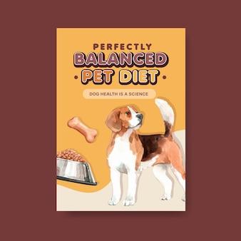 Plantilla de cartel de publicidad de perro acuarela