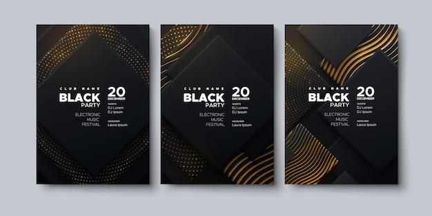 Plantilla de cartel publicitario de fiesta negra de música electrónica