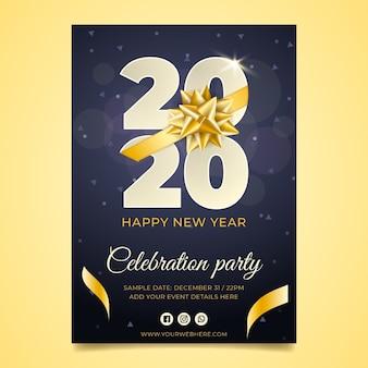 Plantilla de cartel realista año nuevo 2020