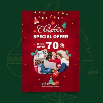 Plantilla de cartel de rebajas de feliz navidad