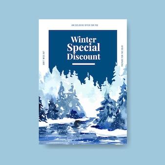 Plantilla de cartel con rebajas de invierno para marketing en estilo acuarela
