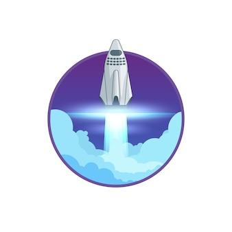 Plantilla de cartel redondo de lanzamiento de cohete colorido