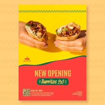 Plantilla de cartel para restaurante de comida mexicana