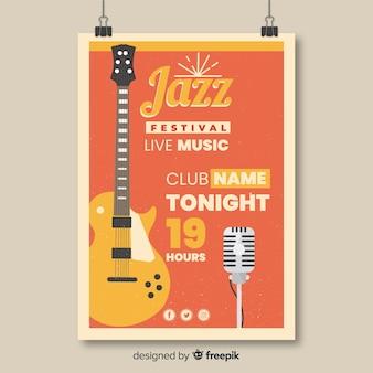 Plantilla de cartel retro festival de música jazz
