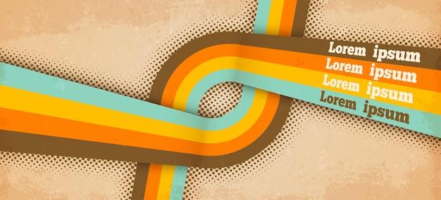 Plantilla de cartel retro con textura de papel grunge, líneas de colores pastel