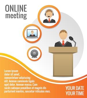 Plantilla de cartel reunión de personas de negocios