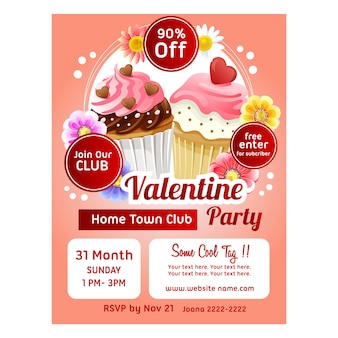 Plantilla de cartel de san valentín con coloridos cupcakes