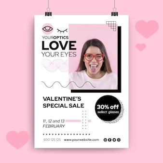 Plantilla de cartel de san valentín minimalista geométrico