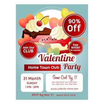 Plantilla de cartel de san valentín con pastel de amor rebanada