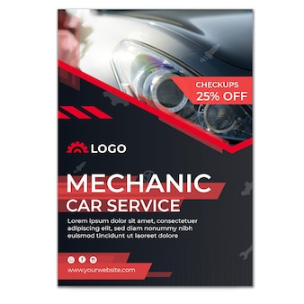 Plantilla de cartel de servicio de coche mecánico