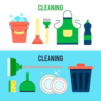 Plantilla de cartel para servicios de limpieza de casas con varios artículos de limpieza.