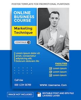Plantilla de cartel de tema de curso de negocios
