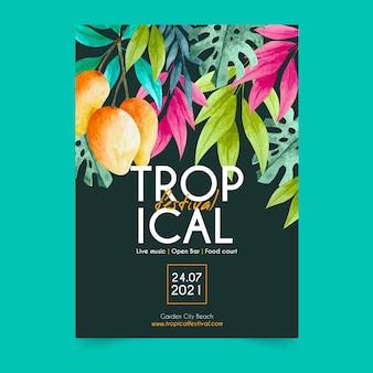 Plantilla de cartel tropical fiesta