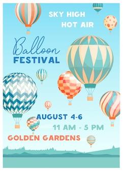 Plantilla de cartel de vector de festival de globo de aire caliente. promoción de eventos de verano decorada con globos voladores en el cielo en un paisaje pintoresco. folleto de invitación de fiesta al aire libre estacional, diseño publicitario.