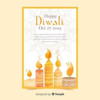 Plantilla de cartel de venta de diwali acuarela