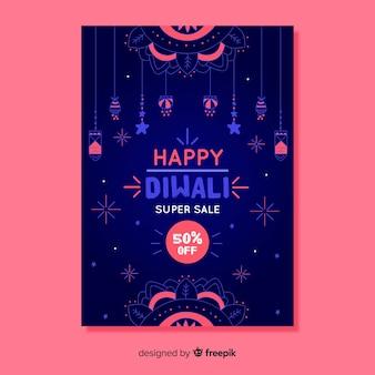 Plantilla de cartel de venta diwali dibujado a mano