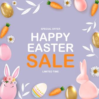 Plantilla de cartel de venta de feliz pascua con huevos de pascua realistas en 3d, conejito, zanahoria, flores y hojas