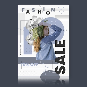 Plantilla de cartel de venta de moda con modelo