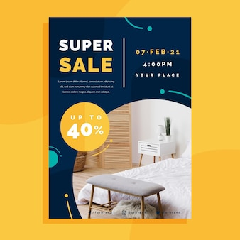Plantilla de cartel de venta de muebles planos