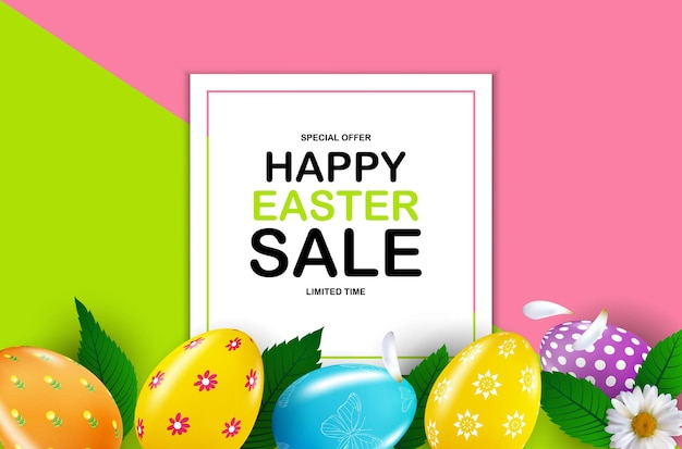 Plantilla de cartel de venta de pascua feliz con huevos de pascua realistas