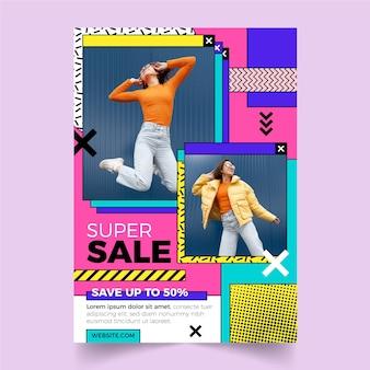 Plantilla de cartel de venta plana con foto