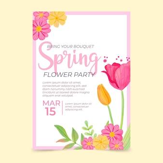 Plantilla de cartel de venta de primavera acuarela