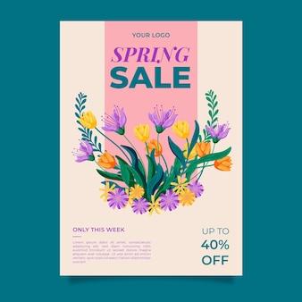 Plantilla de cartel de venta de primavera dibujado