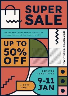 Plantilla de cartel de venta vertical abstracto plano