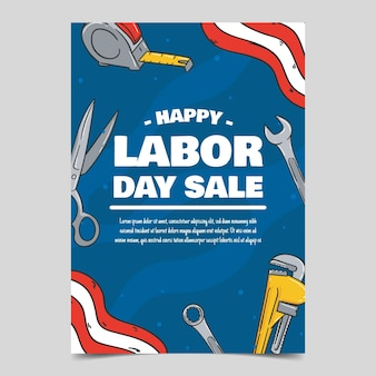Plantilla de cartel de venta vertical del día del trabajo dibujado a mano