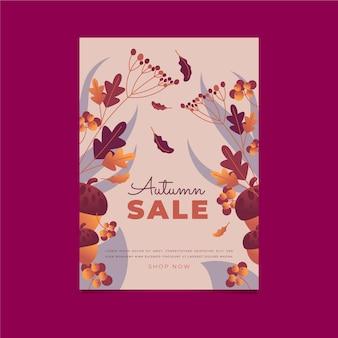 Plantilla de cartel de venta vertical de otoño plano