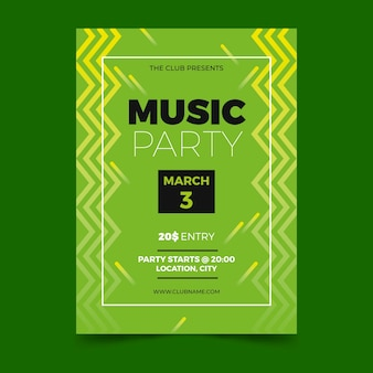 Plantilla de cartel verde de fiesta de música