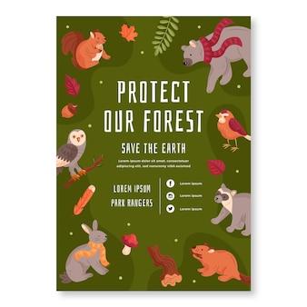 Plantilla de cartel vertical con animales del bosque