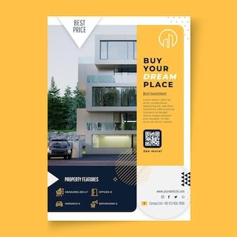 Plantilla de cartel vertical de bienes raíces