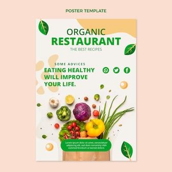 Plantilla de cartel vertical de comida orgánica plana