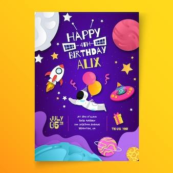 Plantilla de cartel vertical de cumpleaños infantil