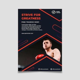 Plantilla de cartel vertical deportivo degradado con boxeador masculino