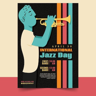 Plantilla de cartel vertical del día internacional del jazz con hombre y trompeta